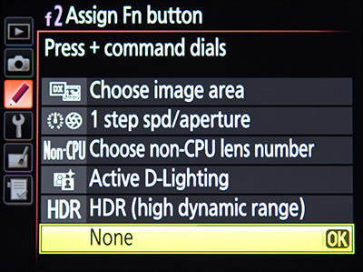 Nikon D7100 menu Function Fn Button customize assign