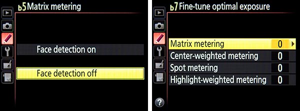 Nikon D810 menu custom setting meter metering face detect tips tricks