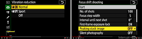 Nikon Z 7 Z 6 menu settings setup