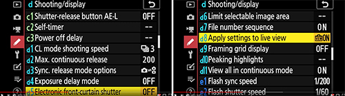 Nikon Z 7 Z 6 Custom Settings menu setup options
